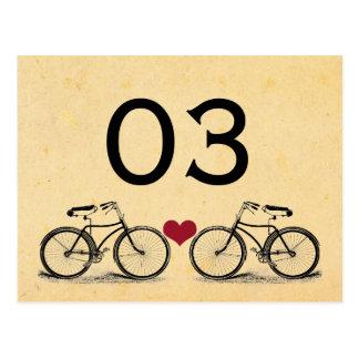 Nombres vintages de Tableau de mariage de bicyclet Carte Postale