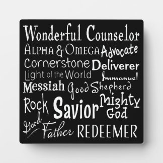 Noms de Dieu de la bible en noir et blanc Photo Sur Plaque