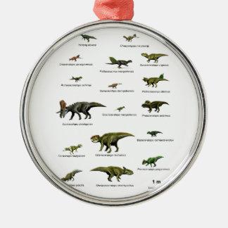 Noms de dinosaures ornement rond argenté
