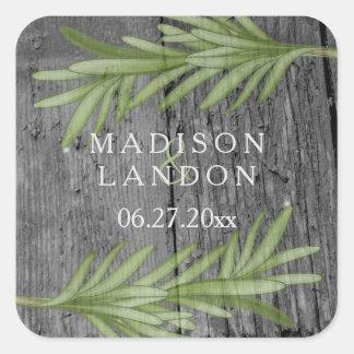 Noms de fines herbes de mariage de brins de sticker carré