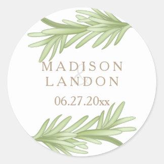 Noms de fines herbes de mariage de brins de sticker rond