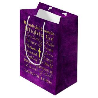 Noms de sac pourpre de cadeau de Jésus