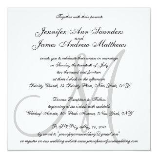 Noms élégants d'initiale de monogramme carton d'invitation  13,33 cm
