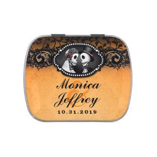 Noms oranges et noirs de squelettes de mariage de boite de bonbons jelly belly