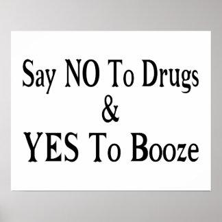 Non aux drogues oui aux boissons alcoolisées affiche