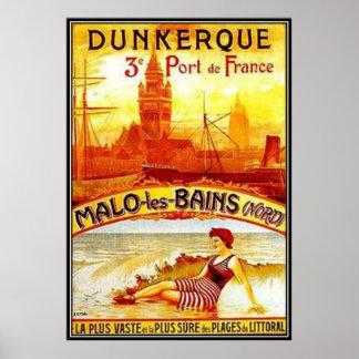 Nord-Pas-de-Calais vintage, Dunkerque, France - Posters