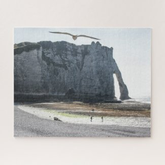 Normandy France Jigsaw Puzzle - Etretat arch bird