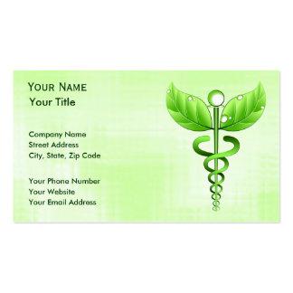 Norme de base de médecine douce verte de caducée carte de visite standard