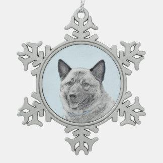 Norvégien Elkhound Ornement Flocon De Neige Pewter