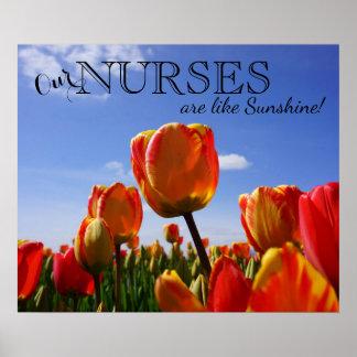 Nos infirmières sont comme le soleil ! affiches posters
