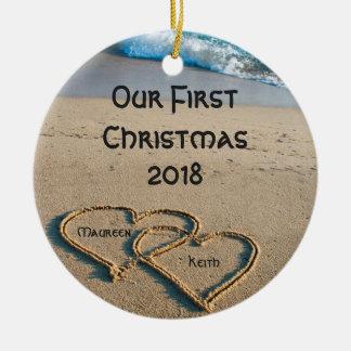 Nos premiers coeurs de Noël en ornement de cercle