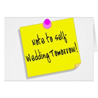Note à l'individu, épousant demain carte de vœux
