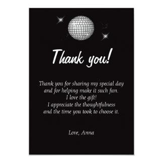 Note de carte de remerciements de disco noire et carton d'invitation  12,7 cm x 17,78 cm