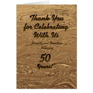 Note de Merci d'anniversaire de mariage d'or Cartes De Vœux
