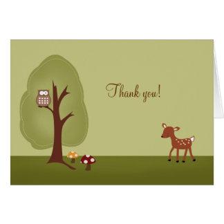 Note de Merci pliée par cerfs communs de forêt de Cartes De Vœux