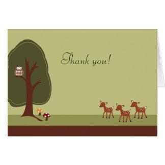 Note de Merci pliée par cerfs communs de la forêt Cartes De Vœux