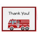 Note de Merci rouge de pompe à incendie et de chap Carte De Vœux