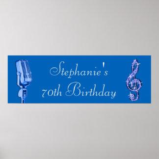 Note de musique d'étincelle et rétro anniversaire posters