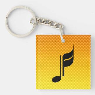 Note de musique porte-clé carré en acrylique double face