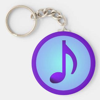 Note élégante simple pourpre bleue de musique porte-clés