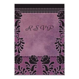 Note l'épousant pourpre et noire de rose de prune carton d'invitation 8,89 cm x 12,70 cm