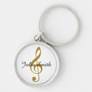 note musicale de g-clef d'or personnalisée porte-clés