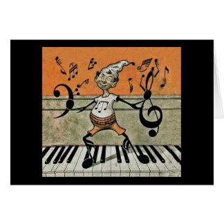 Note musicale d'Elf sur la carte de note de piano