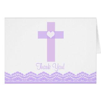 Note religieuse de Merci de croix pourpre moderne Cartes De Vœux