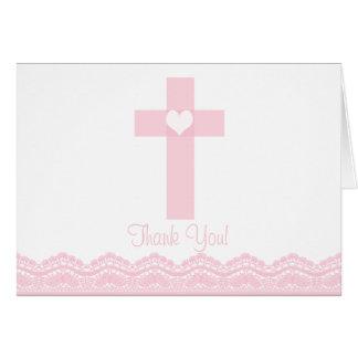 Note religieuse de Merci de croix rose moderne de  Cartes De Vœux