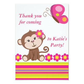 Note (rose) de Merci de fille de singe Carton D'invitation 8,89 Cm X 12,70 Cm