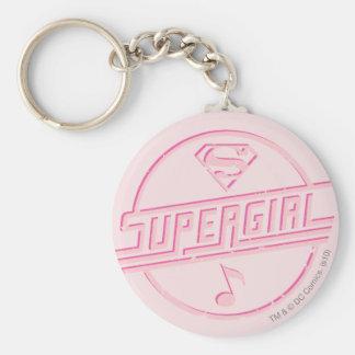 Note rose de musique de Supergirl Porte-clé Rond
