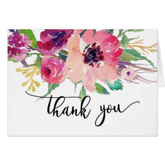 Note rose lumineuse de Merci de couleur d'eau de Cartes De Vœux