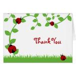 Note rouge de Merci de vignes de coccinelle Cartes De Vœux