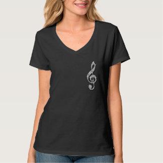 Note scintillante étincelante imprimée de musique t-shirt