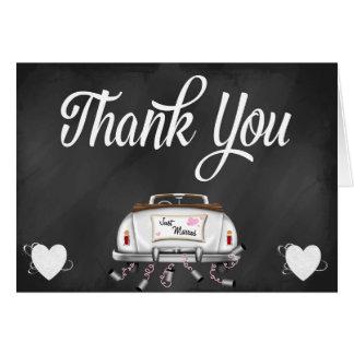 Note vintage de Merci de voiture de mariage de Cartes
