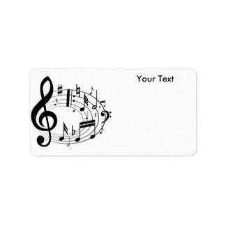 Notes blanches et noires de musique d'échelle de étiquette d'adresse