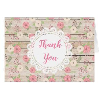Notes carte rustique en bois de Merci et de fleurs
