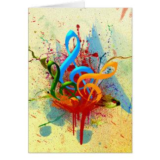 Notes colorées de musique carte de vœux