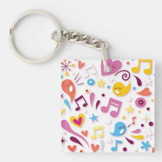 Notes colorées de musique d'amusement porte-clé carré en acrylique une face