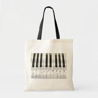 Notes de clavier et de musique de piano sac en toile budget