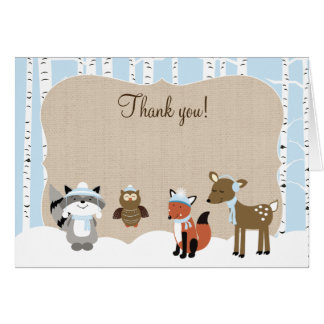 Notes de Merci d'arbre de bouleau d'animaux de