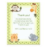 Notes de Merci de baby shower d'animaux de safari Carton D'invitation 10,79 Cm X 13,97 Cm