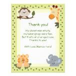 Notes de Merci de baby shower d'animaux de safari  Invitations Personnalisées
