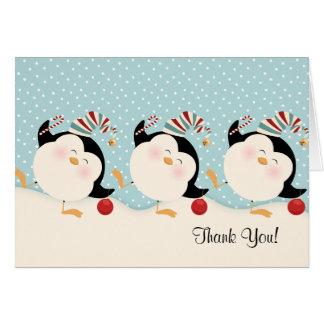 Notes de Merci de pingouins de Noël