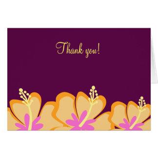Notes de Merci pliées par fleur pourpre de ketmie