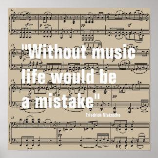 notes de musique avec la citation posters
