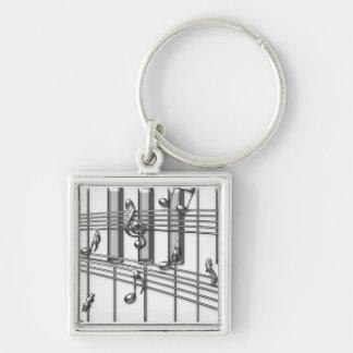 Notes de musique d'argent de clavier de piano porte-clé carré argenté