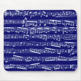 Notes de musique de bleu marine tapis de souris