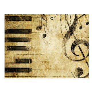 Notes de musique de piano carte postale