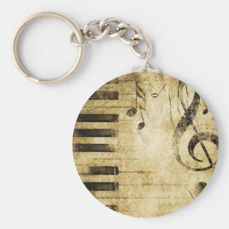 Notes de musique de piano porte-clé rond